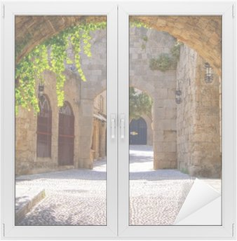 Medieval arched street in the old town of Rhodes, Greece Window & Glass Sticker