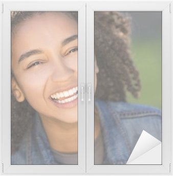 Window & Glass Sticker Mixed Race African American Girl Teenager With Perfect Teeth
