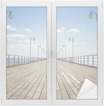 Window & Glass Sticker Old empty wooden pier over the sea shore with copy space