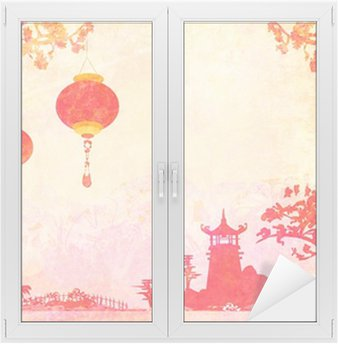 Window & Glass Sticker old paper with Asian Landscape and Chinese Lanterns