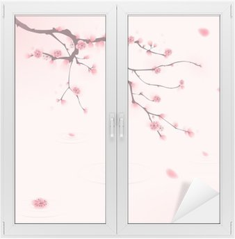 Window & Glass Sticker oriental style painting, cherry blossom in spring