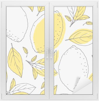 Outline seamless pattern with hand drawn lemon and leaves. Doodle fruit for package or kitchen design Window & Glass Sticker