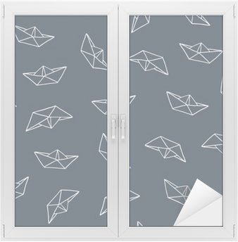 Paper boat seamless pattern Window & Glass Sticker