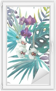 pattern orchid hibiscus leaves watercolor tropics Window & Glass Sticker