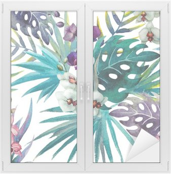 Window & Glass Sticker pattern orchid hibiscus leaves watercolor tropics