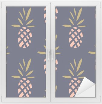 Pineapples on the dark background. Vector seamless pattern with tropical fruit. Window & Glass Sticker