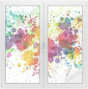 Window & Glass Sticker raster version of Abstract colorful splash background