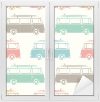 Retro camper van with surfing board. Seamless pattern. Window & Glass Sticker