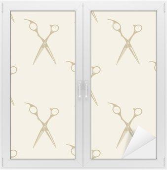Scissors pattern tile background seamless vintage barber shop symbol emblem label collection Window & Glass Sticker