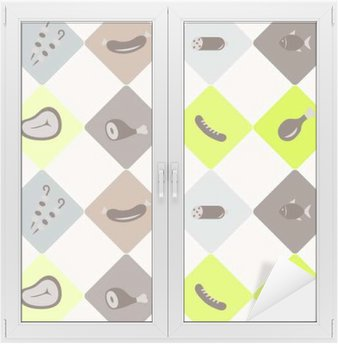 Window & Glass Sticker seamless abstract background with meat products