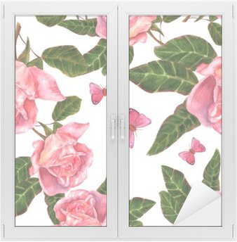 Window & Glass Sticker Seamless background pattern with vintage style watercolor roses