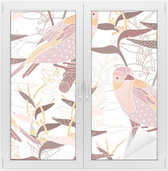Window & Glass Sticker Seamless floral pattern with birds
