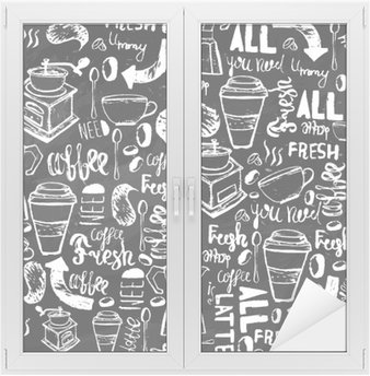 Seamless hand-drawn coffee seamless pattern. Coffee pattern with lettering. Vector Coffee pattern on dark background for wrapping, banners. Window & Glass Sticker