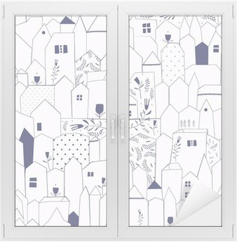 Seamless pattern. Figure cities in vintage style. Window & Glass Sticker