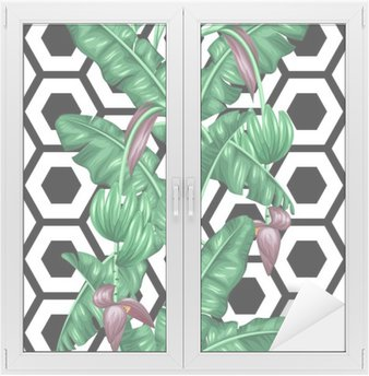 Seamless pattern with banana leaves. Decorative image of tropical foliage, flowers and fruits. Background made without clipping mask. Easy to use for backdrop, textile, wrapping paper Window & Glass Sticker