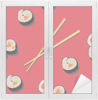 Window & Glass Sticker Seamless pattern with sushi roll and chopsticks