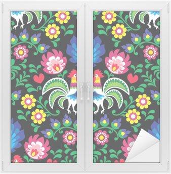 Window & Glass Sticker Seamless Polish folk art pattern with roosters - Wzory Lowickie, Wycinanka
