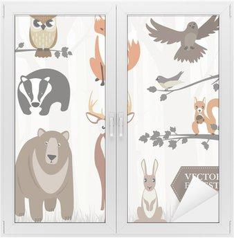 Window & Glass Sticker Set of forest animals. Vector image