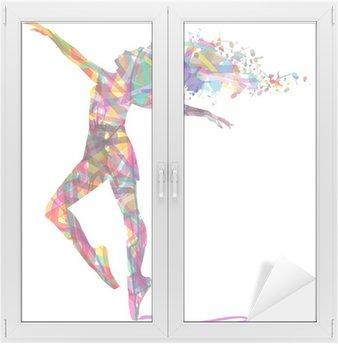 Window & Glass Sticker silhouette di ballerina composta da colori