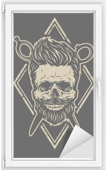 Skull with a beard and a stylish haircut.