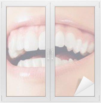 Window & Glass Sticker Sorriso denti donna felice