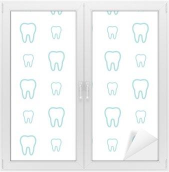 Window & Glass Sticker Teeth on white background. Vector dental seamless pattern.