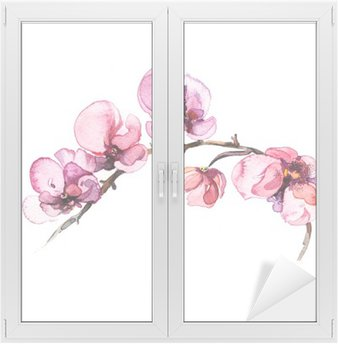 Window & Glass Sticker the watercolor flowers orchid isolated on the white background