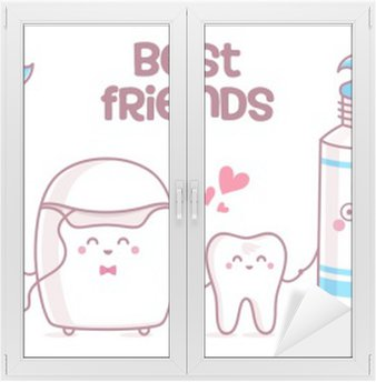 Window & Glass Sticker Tooth, toothpaste, dental floss, toothbrush