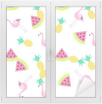Window & Glass Sticker Tropic summer seamless white pattern with watermelon, flamingo and pineapples. Pink and yellow fun pattern.