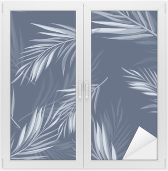 Tropical seamless monochrome blue indigo camouflage background with leaves and flowers Window & Glass Sticker