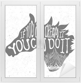 Window & Glass Sticker Typography poster with horse head silhouette and mountains