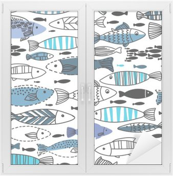 Window & Glass Sticker Underwater seamless pattern with fishes. Seamless pattern can be used for wallpapers, web page backgrounds