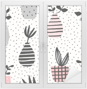 Vases and Pots Seamless Pattern Window & Glass Sticker