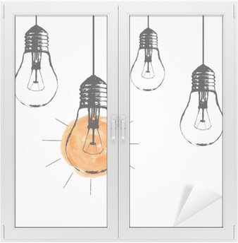 Vector grunge illustration with hanging light bulbs and place for text. Modern hipster sketch style. Unique idea and creative thinking concept. Window & Glass Sticker