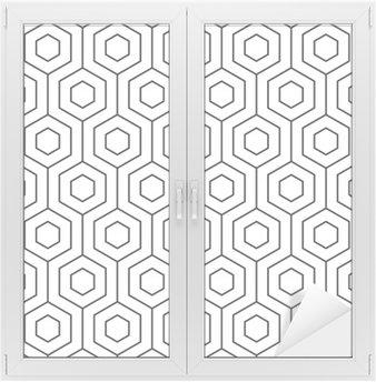 Window & Glass Sticker Vector seamless pattern. Modern stylish texture. Monochrome geometric pattern. The grille with hexagonal tiles.
