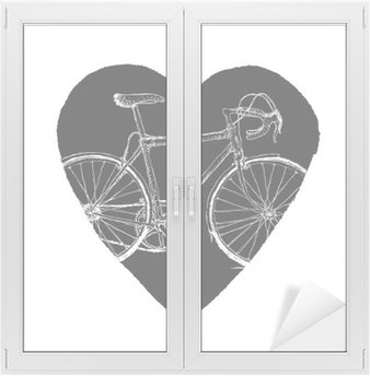 Window & Glass Sticker Vintage Bicycle in Heart.