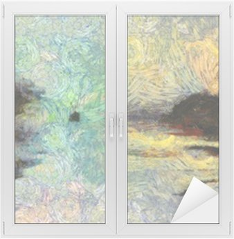 Window & Glass Sticker Vivid Swirling Painting of Islands Sunset or Sunrise