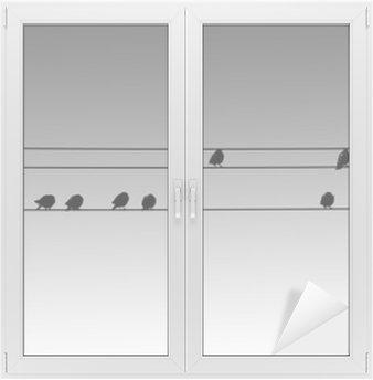 Vogelsilhouetten / Die Silhouetten von nebeneinandersitzenden Vögeln auf Elektroleitungen. Window & Glass Sticker