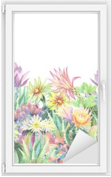 Watercolor blooming cactus background Window & Glass Sticker