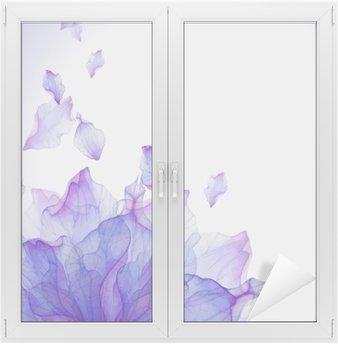 Window & Glass Sticker Watercolor card with Purple flower petal