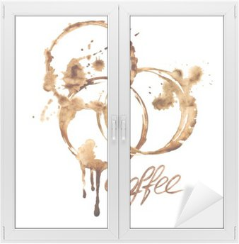 Window & Glass Sticker Watercolor emblem with coffee stains