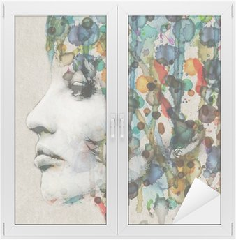 Window & Glass Sticker Watercolor female profile