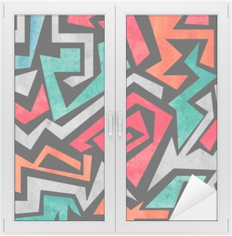 Window & Glass Sticker Watercolor graffiti seamless pattern. Vector colorful geometric abstract background in red, orange and blue colors.