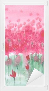Watercolor painting. Background meadow with red flowers. Window & Glass Sticker
