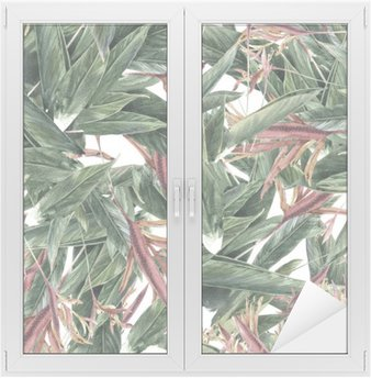 Watercolor painting of leaf and flowers, seamless pattern Window & Glass Sticker