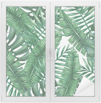 Window & Glass Sticker Watercolor tropical palm leaves seamless pattern. Vector illustration.