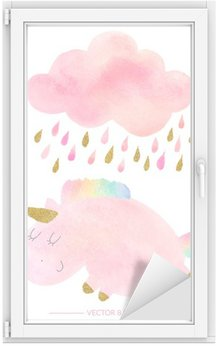 Watercolor unicorn and cloud with rain Window & Glass Sticker