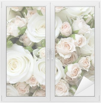 Window & Glass Sticker Wedding bouquet of pinkand white roses