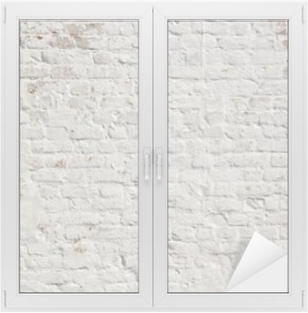 White grunge brick wall background Window & Glass Sticker