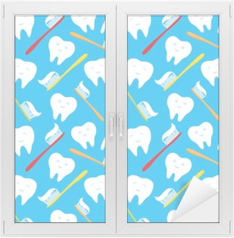 Window & Glass Sticker White teeth and colorful toothbrushes.